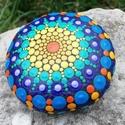 Bohém színek mandalakő - élettel teli bohém dekoráció - jógastúdió dekoráció - meditáció - spirituális ajándék, Pontozó technikával, kézzel festett, kézzel fo...