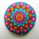 Festett mandala - Mandalakő - hippi - bohém jóga ajándék nőknek, férfiaknak - Painted mandala  - Festett mandala kő, Pontozó technikával, kézzel festett, kézzel fo...