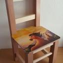 Gyermek szék névvel, Baba-mama-gyerek, Gyerekszoba, Gyerekbútor, Decoupage, transzfer és szalvétatechnika, Egyedi igények alapján  készült fa  kisszék. Névvel is kérhető!   A kisszéket decoupage technikával..., Meska