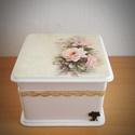 Romantikus doboz, Dekoráció, Esküvő, Ezt a dobozt romantikus stílusban készítettem el.  Festettem ,decoupage technikával díszítette..., Meska
