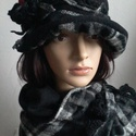 """,,RAMÓNA""""polár-szövet kalap, sállal / nincs postaköltség, Ruha, divat, cipő, Kendő, sál, sapka, kesztyű, Varrás, Horgolás, Dekoratív, meleg, egyedi . Fekete polár  és fekete-fehér szövött kockás anyagból készült ez a dupla..., Meska"""