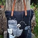 ,, BERTA''   farmertáska bőr fülekkel,  Strapabíró, egyedi, nagy táskát készítettem...