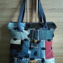 ,,ILDIKÓ''   farmertáska , Táska, Közepes nagyságú jól pakolható ez a táska is. Korábbi farmernadrágok darabjai, gombjai, címkék, zseb..., Meska