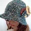 AKCIÓ!Virágcsokros horgolt kalap , Vastagszálú, jó minőségű pamutból horgoltam...