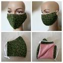Zöld szájmaszk, Dupla rétegű 100% pamut szájmaszk. Apró virág...