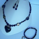 Lápisz lazuli nyaklánc, karkötő, fülbevaló szett 1, Ékszer, óra, Ékszerszett, Ékszerkészítés, A lápisz lazuli szív medálos nyaklánc együtt is megvásárolható a szintén szív függős lápisz lazuli ..., Meska