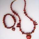 Vörös jáspis szív nyaklánc és karkötő szett