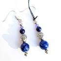 Lápisz lazuli fülbevaló Buddha fejjel, Ékszer, Karkötő, A tibeti gyógyító Buddha sötétkék színét adó lápisz lazulival készítettem ezt a fülbevalót. Egy-egy ..., Meska