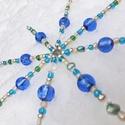 Kék gyöngycsillag dekoráció, Dekoráció, Ünnepi dekoráció, Kékes színű üveggyöngyökből - kásagyöngyből és nagyobb gyöngyökből - készítettem ezt a felakasztható..., Meska