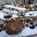 Jáspis nyaklánc - nagyon hosszú, Ékszer, Nyaklánc, Szép földszínű jáspisokból és óarany színű üveggyöngyökből fűztem ezt a különleges jáspis nyakláncot..., Meska