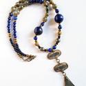 """""""Waterdrop"""" lápisz lazuli nyaklánc távolkeleti medállal, Ékszer, Nyaklánc, Medál, Ez a három részes medál is a Távol-Keletről érkezett, az alsó rész vízcsepp alakja miatt a """"Waterdro..., Meska"""