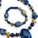 Lápisz lazuli nyaklánc és karkötő szett