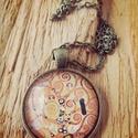 Klimt: Életfa, Ékszer, óra, Medál, 25 mm átmérőjű lencsével bíró antikolt bronz színű medál hozzá illő lánccal., Meska