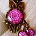 Pink mandalás bagoly, Ékszer, Fülbevaló, Medál, Antikolt bronz medálalap (lencseátmérő 25 mm), francia kapcsos fülbevalóalap (lencseátmérőj..., Meska