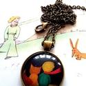 A kis herceg és a róka, Ékszer, Medál, A képen látható medál lencseátmérője 25 mm, az alap sima szélű antikolt bronz darab. A lánc hossza e..., Meska
