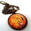 Klimt, Ékszer, Medál, 25 mm átmérőjű lencsével bíró antikolt bronz színű medál hozzá illő lánccal., Meska