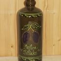 Kerámia pálinkás butella szilva mintával, Férfiaknak, Hagyományőrző ajándékok, Sör, bor, pálinka, A pálinkás butella kb 7 dl űrtartalmú , 26 cm magas mázas cserépedény. A butella lezárását..., Meska