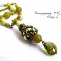 Oliva swarovski bogyós hosszú nyaklánc, Gyönyörű olivazöld és bronz színekben ragyog...
