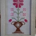 Édesanyám, virágosat álmodtam....., Otthon & lakás, Dekoráció, Ünnepi dekoráció, Anyák napja, Hímzés, Keresztszemes hímzéssel készített asztali kép. Mérete: 10x15 cm, Meska