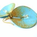 Apró kék-arany kagyló - fülbevaló , Ékszer, óra, Fülbevaló, Nagyon elegáns, élénk színű, vidám nyári fülbevaló.   Mérete: 5 cm hosszú akasztóval és 3 cm széles...., Meska