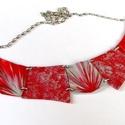 Piros-szürke elegáns statement nyaklánc, Ékszer, óra, Nyaklánc, Több darabból álló, elegáns nyaklánc, mely szinte bármilyen ruhával jól harmonizál.  100%-ban kézzel..., Meska