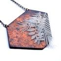 Fuvallat - bronz-kék nyaklánc , Ékszer, Nyaklánc, Az idei őszi-téli kollekció legjellemzőbb vonása a légiesség. A levélformák és növényi sziluettek mi..., Meska