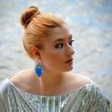 Béke - kék-ezüst fülbevaló - RIVERSIDE kollekció