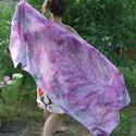 """""""Nagykendő"""", Ruha, divat, cipő, Kendő, sál, sapka, kesztyű, Selyemfestés, Kedves Nézelődő! Nagy stóla.95X175 cm-es . Futtatott , sózott technikával készült pink, orgona-lila..., Meska"""