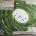 Zöld örvény, Dekoráció, Otthon, lakberendezés, Falióra, Kép, Festészet, Festett tárgyak, Rendelhető a képen látható faliórás kép, melyet akril festékkel festettem, mérete: 70 cm magas és 8..., Meska