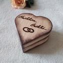 Gyűrűtartó doboz fából, Azonnal vihetõ szìv alakú gyűrűtartó dobozka...