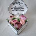 Szív alakú fadoboz virággal, Rendelhető szív alakú fa doboz 19*19*7,5 cm mé...