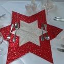karácsonyi csillag alakú terítő, Dekoráció, Ünnepi dekoráció, Karácsonyi, adventi apróságok, Karácsonyi dekoráció, Patchwork, foltvarrás, Varrás, 60x60 cm-es hatágú csillag alakú terítő, különböző színekben piros, zöld, kék. !!!! Kérd az aktuáli..., Meska