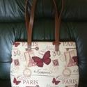 Pillangós táska, Táska, Válltáska, oldaltáska, 34x30x8cm  Ez a táska pillangóval, Eiffel toronnyal igazi nyári kedvenc lehet! Ha ezt hordod, má..., Meska
