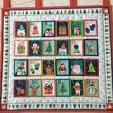 Vidám, színes adventi naptár, Dekoráció, Karácsonyi, adventi apróságok, Ünnepi dekoráció, Adventi naptár, Patchwork, foltvarrás, Varrás, 56x51cm + 5,5cm-es fülek 100% pamut angol nyomott mintás anyagból A 7x8,5 cm-es zsebeket kibéleltem..., Meska