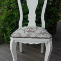 Provence barokk szék, Bútor, Szék, fotel, Festett tárgyak, Provence stílusban festett, koptatott és viaszolt barokk szék. A kárpitozása újszerű, szerkezetileg..., Meska