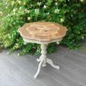 Vintage intarziás kis asztal, Bútor, Asztal, Festett tárgyak, Vintage stílusban festett, enyhén koptatott, krém színű, felület kezelt kis asztal. Az asztal lapjá..., Meska