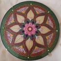Virág Mandala, Otthon & Lakás, Kép & Falikép, Dekoráció, Üvegművészet, Festészet, Virág mandala A mandala akrilfestékkel készül üveglapra a szívcsakra színeivel, de mivel minden man..., Meska