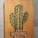 String Art - kaktusz cserépben, Dekoráció, Otthon, lakberendezés, A kaktusz mintát gyöngyfonál segítségével készítettem, String Art vagyis cérnatechnikával...., Meska