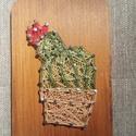 String Art virágos kaktusz, Dekoráció, Otthon, lakberendezés, String Art technikával készítettem a kaktuszos képet, amihez gyöngyfonalat használtam fel. A f..., Meska
