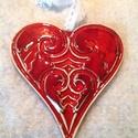 Nagy szív , nyomott mintával, Dekoráció, Anyák napja, Szerelmeseknek, Ünnepi dekoráció, Kerámiából készült , meggypiros mázzal bevont , nyomott mintával készített szív alakú dek..., Meska