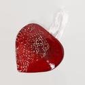 Szív -3D, Dekoráció, Anyák napja, Szerelmeseknek, Ünnepi dekoráció, Kerámiából készült (belül üreges) , meggypiros mázzal bevont , csipke mintával ( egyedi tá..., Meska