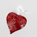 Szív -3D, Dekoráció, Anyák napja, Szerelmeseknek, Ünnepi dekoráció, Kerámiából készült ( belül üreges) , meggypiros mázzal bevont , nyomott  mintával ( egyedi ..., Meska