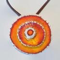 Narancsvirág nyaklánc, Ékszer, Nyaklánc, Kerámia nyaklánc. Egyedi tervezés alapján készült kézműves kerámia ékszer. Narancssárga m..., Meska