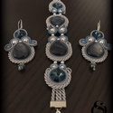 Kék gyönyörűség, Ékszer, Ékszerszett, Fülbevaló, Karkötő, Kagylógyöngyöt,Swarovski gyöngyöt és 10 mm-es Swarovski kristályokból készítettem ezt a sz..., Meska