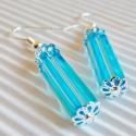 Oxygen gyöngy fülbevaló, üveggyöngy, Ékszer, Ékszerszett, Fülbevaló, Méretes kék színű szögletes hasáb üveggyöngy - mint egy kapszula éltető, friss oxigén!  A..., Meska