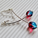Mon cheri gyöngy fülbevaló, üveggyöngy, Ékszer, Ékszerszett, Fülbevaló, Franciás hangulatú, különleges piros és kék színátmenetes üveggyöngy bogyók, ezüstözöt..., Meska