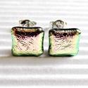 Pezsgő ragyogás kocka üveg dichroic fülbevaló, üvegékszer , Ékszer, óra, Fülbevaló, Fekete alapon gyönyörű barackos rózsaszín, picit türkizes tónusú, gyűrt hatású dichroic-b..., Meska