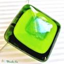 Zöld fény üveg medál, üvegékszer, Ékszer, óra, Ékszerszett, Medál, Nyaklánc, Ékszerkészítés, Üvegművészet, A legmagasabb minőségű, áttetsző mohazöld, almazöld és irizáló felületű, világos moha színű ékszerü..., Meska