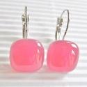 Málna francia kapcsos üveg fülbevaló, üvegékszer, Ékszer, óra, Fülbevaló, Ékszerkészítés, Üvegművészet, Rózsaszín alapra olvasztottam áttetsző málna színű üveget. Különleges pinkes árnyalatú, mutatós éks..., Meska