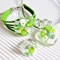 Borsóvirág üveg medál és karkötő, üvegékszer szett, Ékszer, óra, Ékszerszett, Karkötő, Nyaklánc, Ékszerkészítés, Üvegművészet, Muránói áttetsző ékszerüvegből és sok-sok zöld és fehér millefiori virág-gyöngyből olvasztottam az ..., Meska